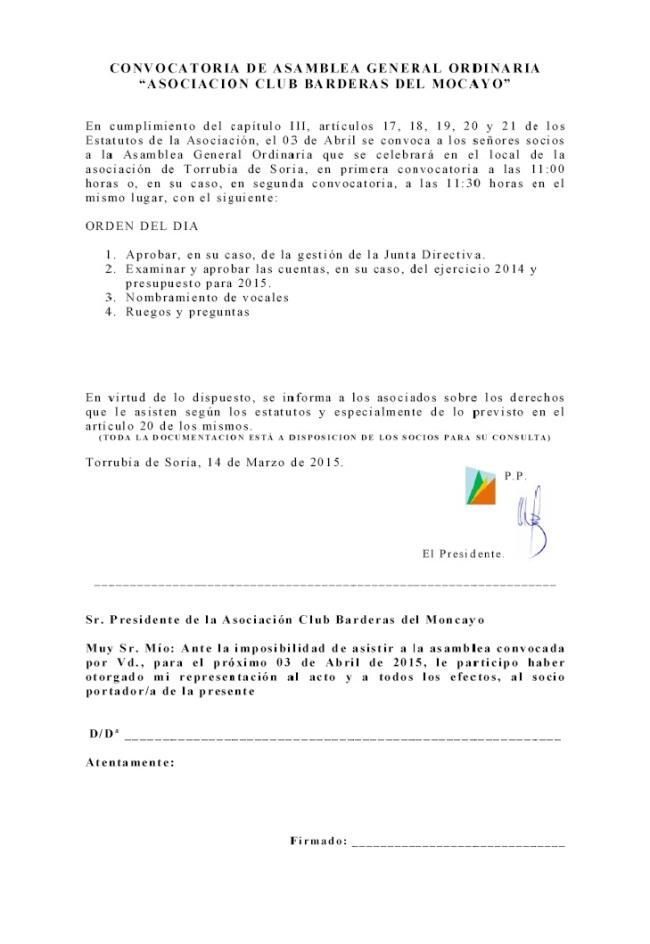 2015-03-15 - Convocatoria de Asamblea General Ordinaria